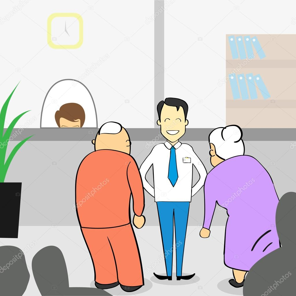 Old Couple In Bank Office, Senior Man Woman With Assistant Manager ...